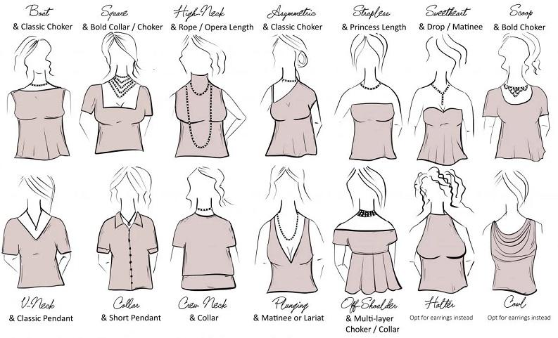 ست گردنبند با یقه لباس