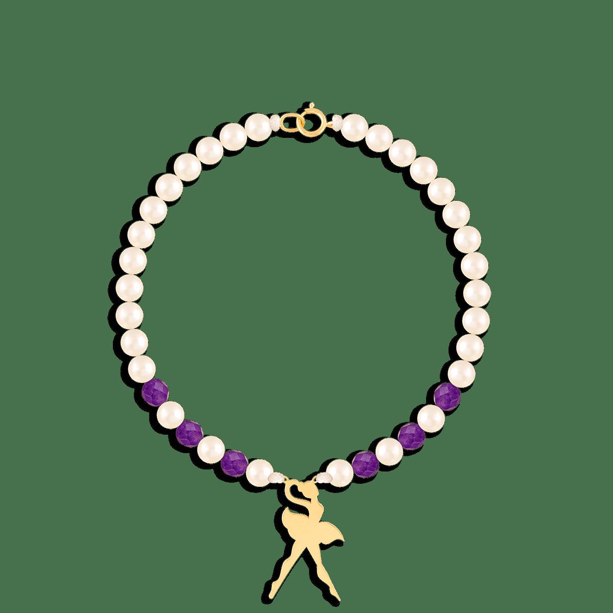 دستبند طلا سنگی رقص باله
