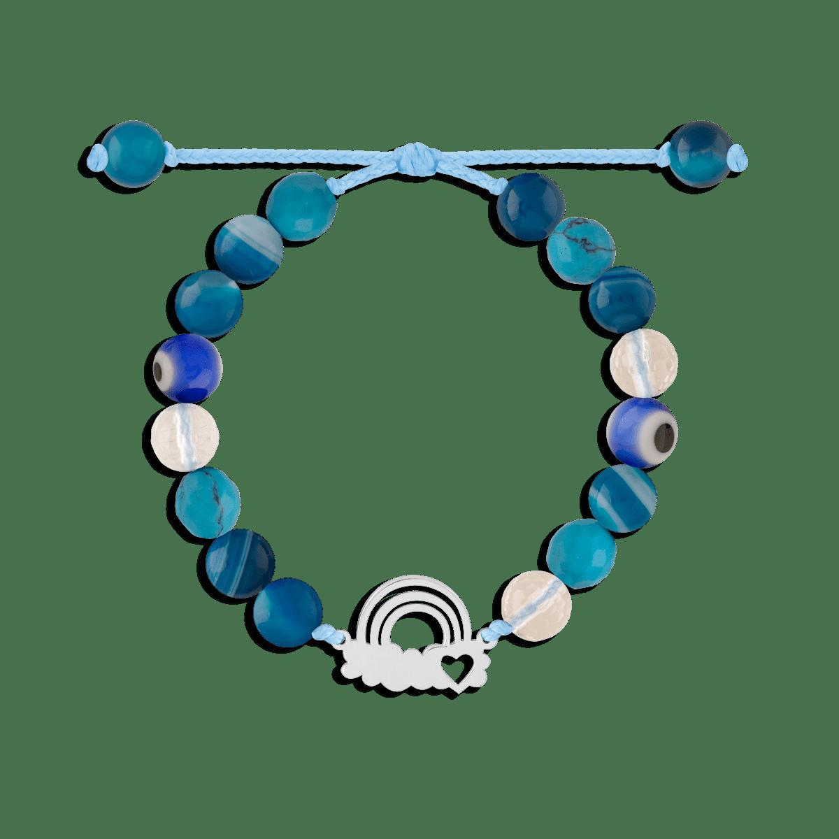 دستبند نقره سنگی ابر و رنگین کمان