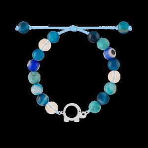 دستبند نقره بچهگانه سنگی فیل