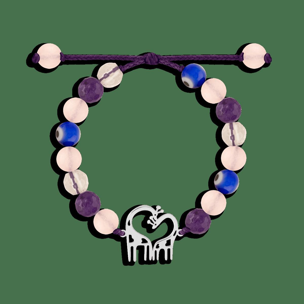 دستبند نقره سنگی زرافه