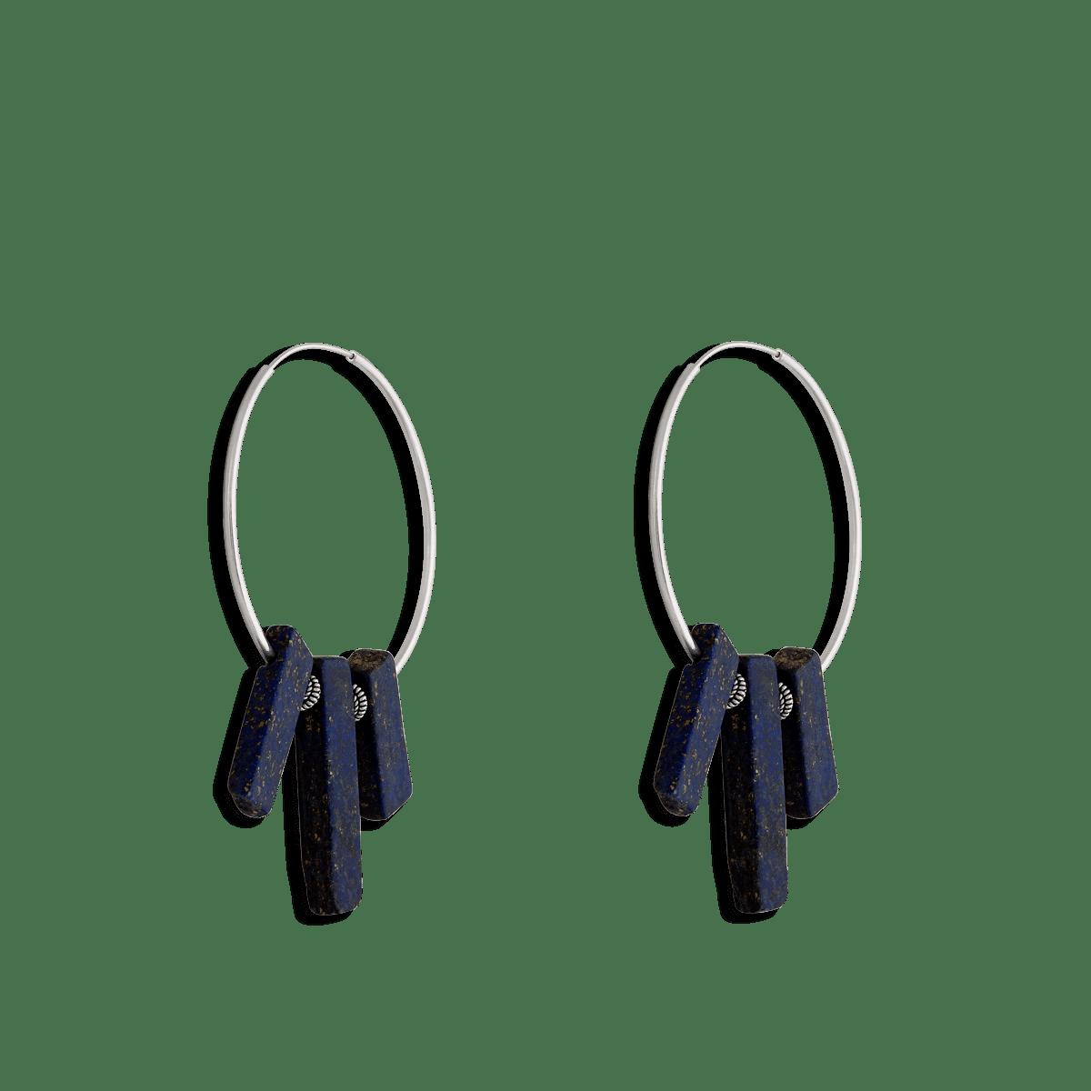 گوشواره نقره حلقه و سنگ