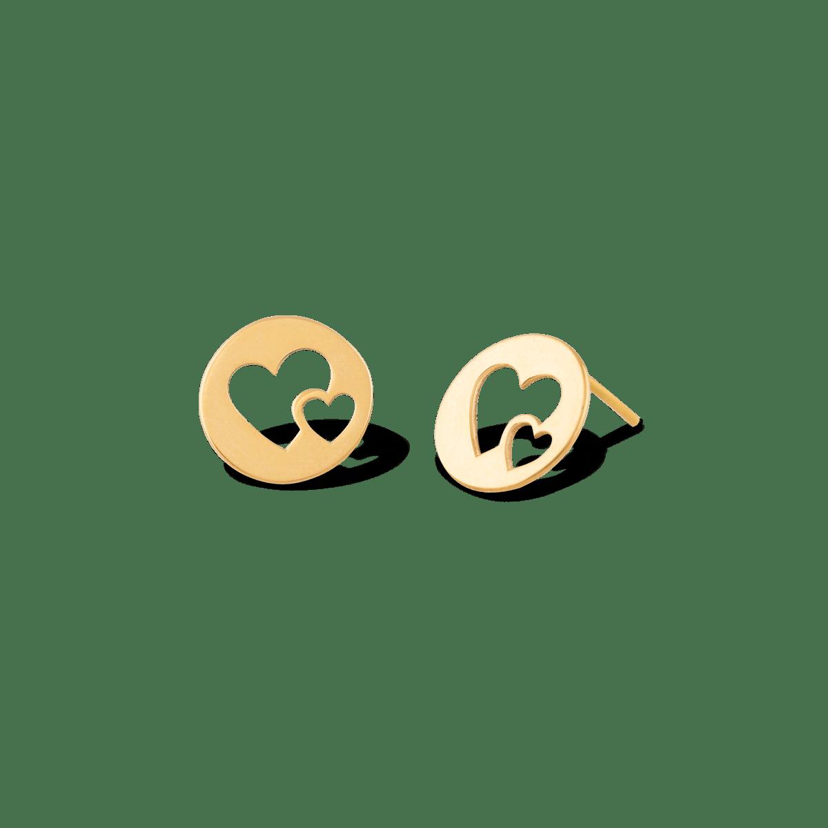گوشواره طلا دو قلب