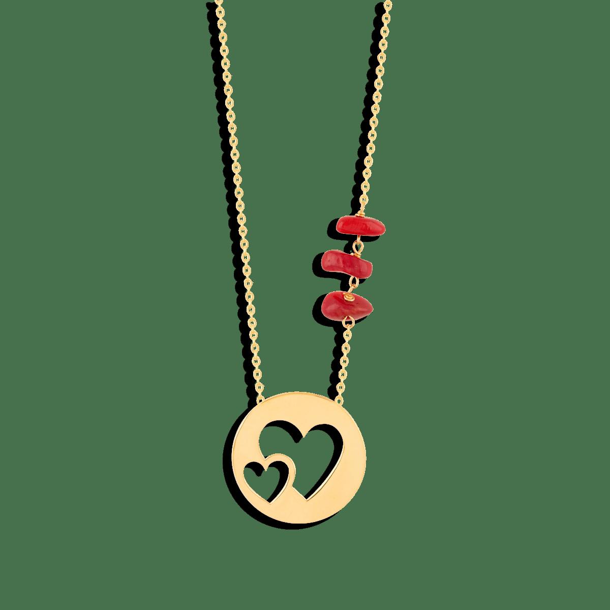 گردنبند طلا دو قلب