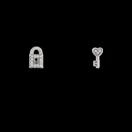 گوشواره نقره قفل و کلید