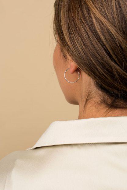 گوشواره نقره تک لنگه ای حلقه متوسط سایز 2