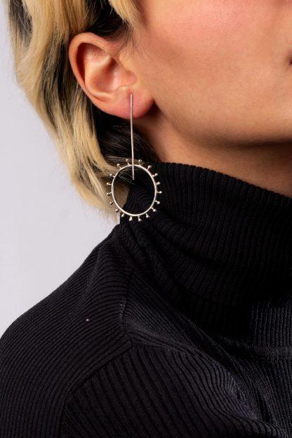 گوشواره نقره خط و دایره
