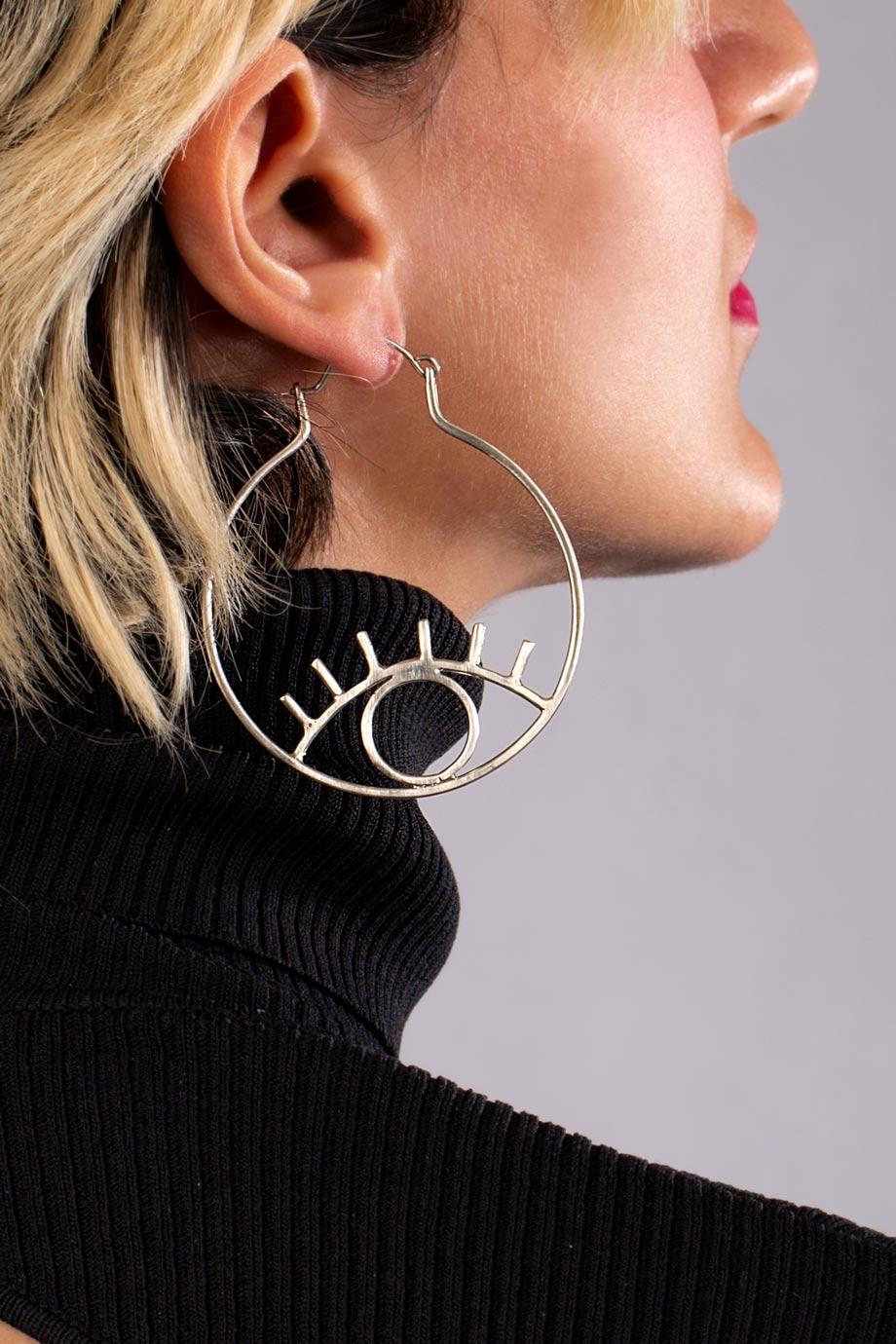 گوشواره نقره دایره و چشم