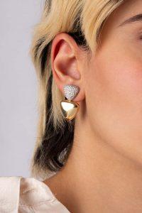 گوشواره طلا مثلث نگین دار