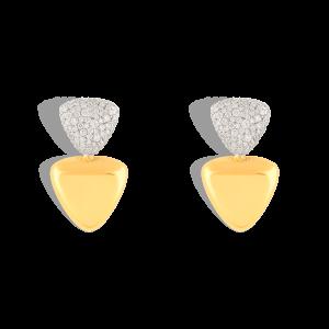 گوشواره طلا مثلث دوتایی و برلیان