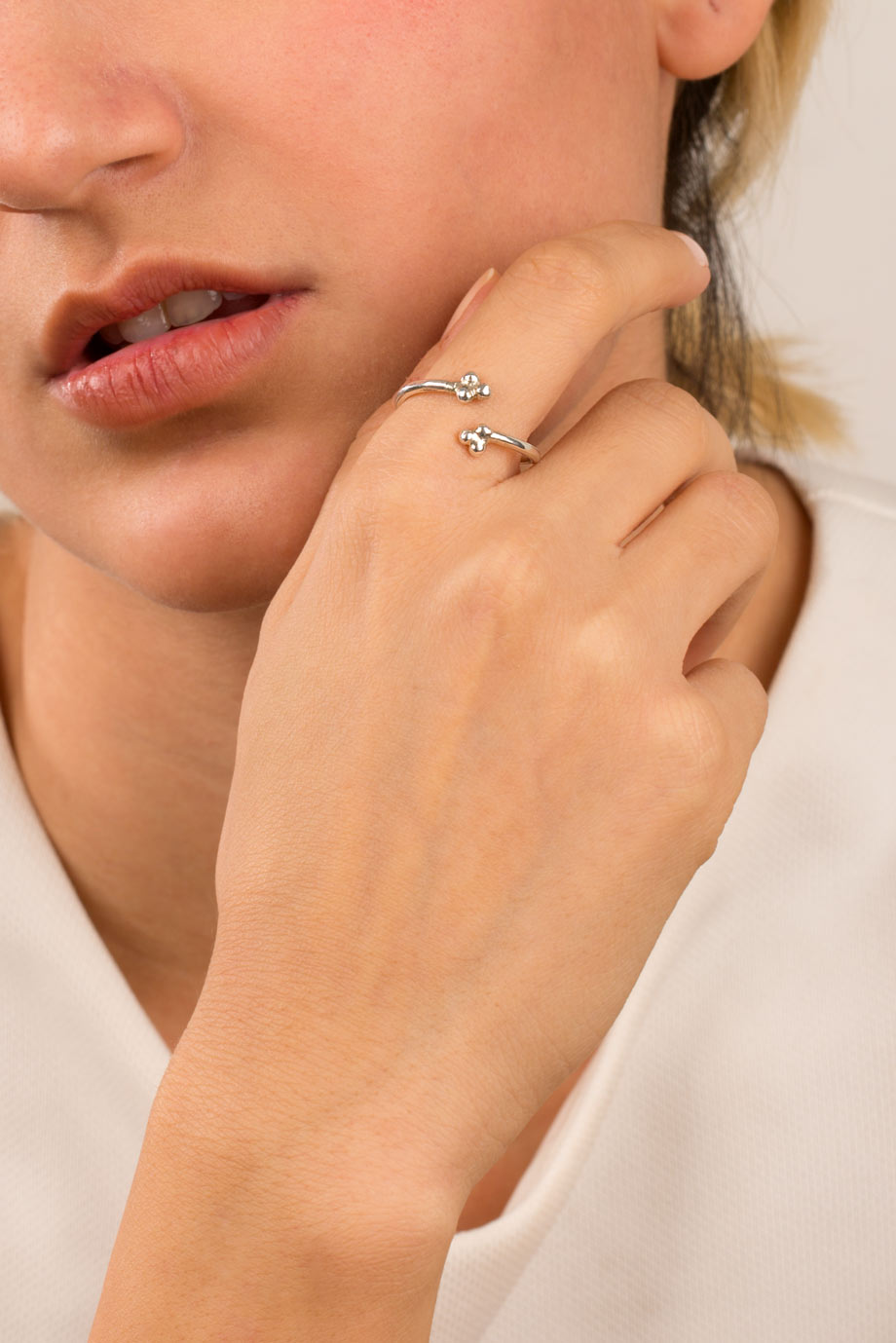 انگشتر نقره مثلث توپی