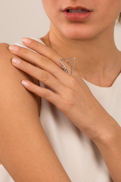 انگشتر نقره مثلث