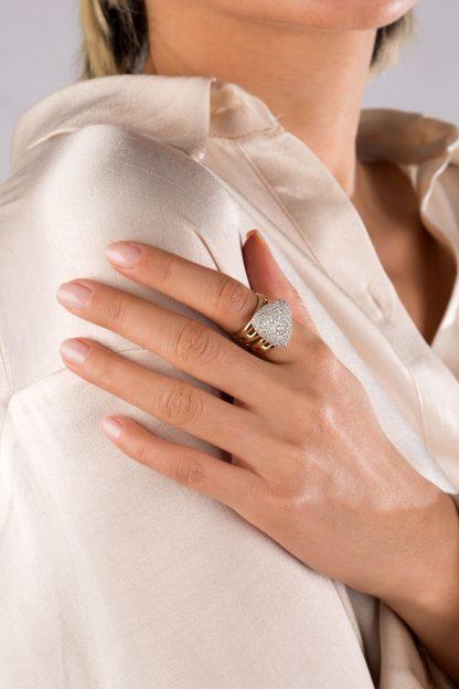 انگشتر طلا مثلث نگین دار