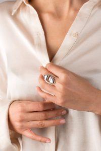 انگشتر طلا سفید سه رینگ مثلث