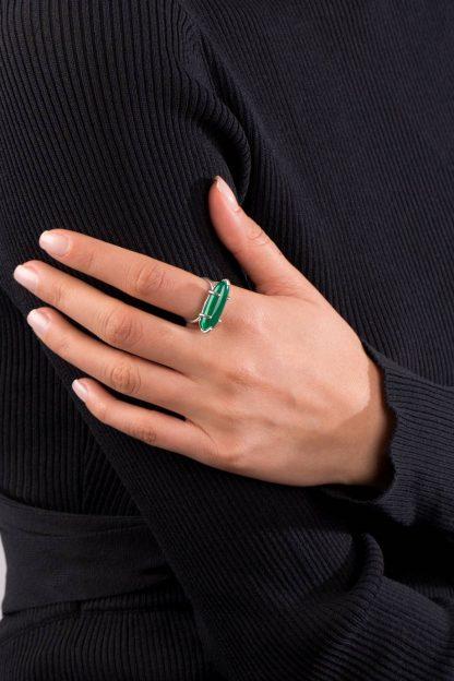 انگشتر نقره جید بیضی