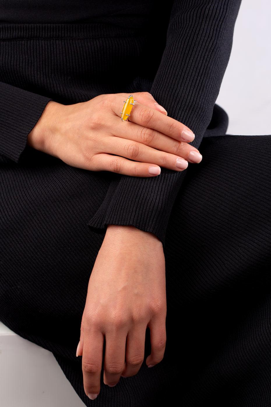 انگشتر نقره سیترین بیضی