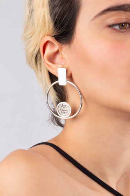 گوشواره نقره دایره و سکه