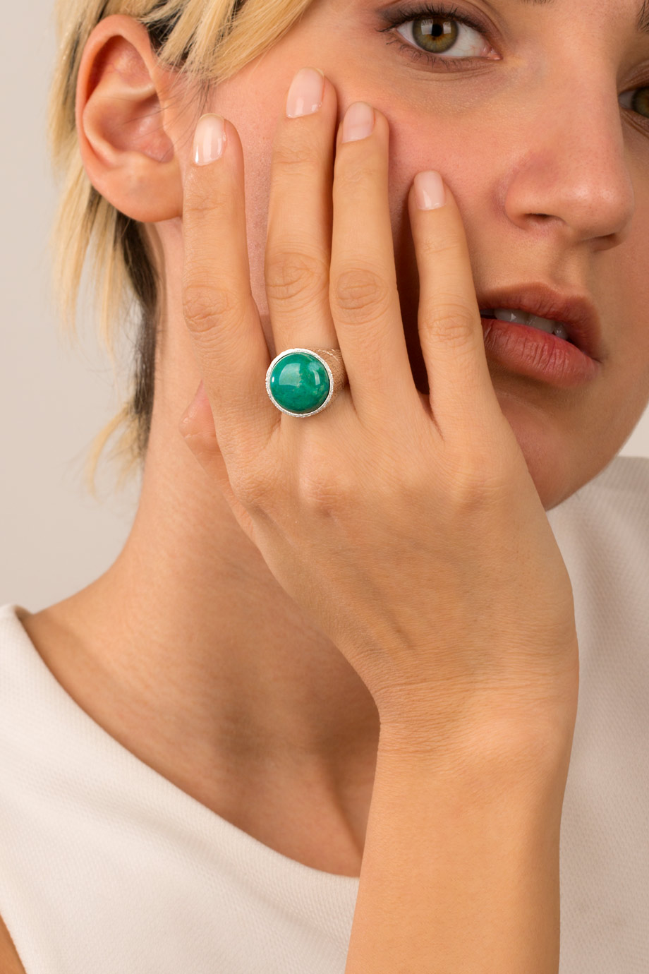 انگشتر نقره سنگ سبز