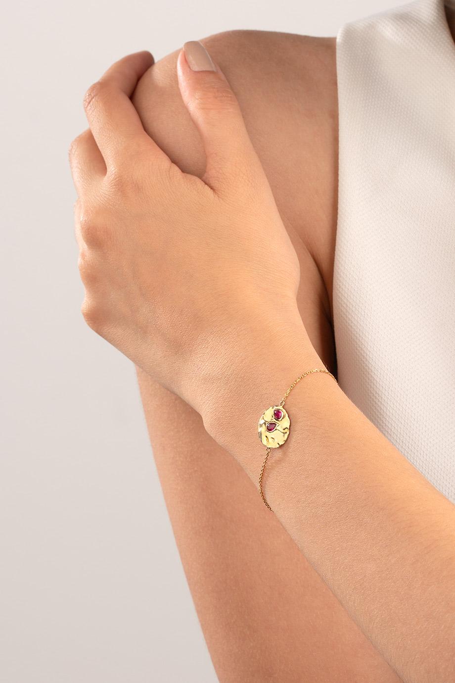 دستبند طلا دایره و یاقوت کوبیده
