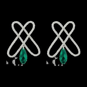 گوشواره نقره کریستال سبز