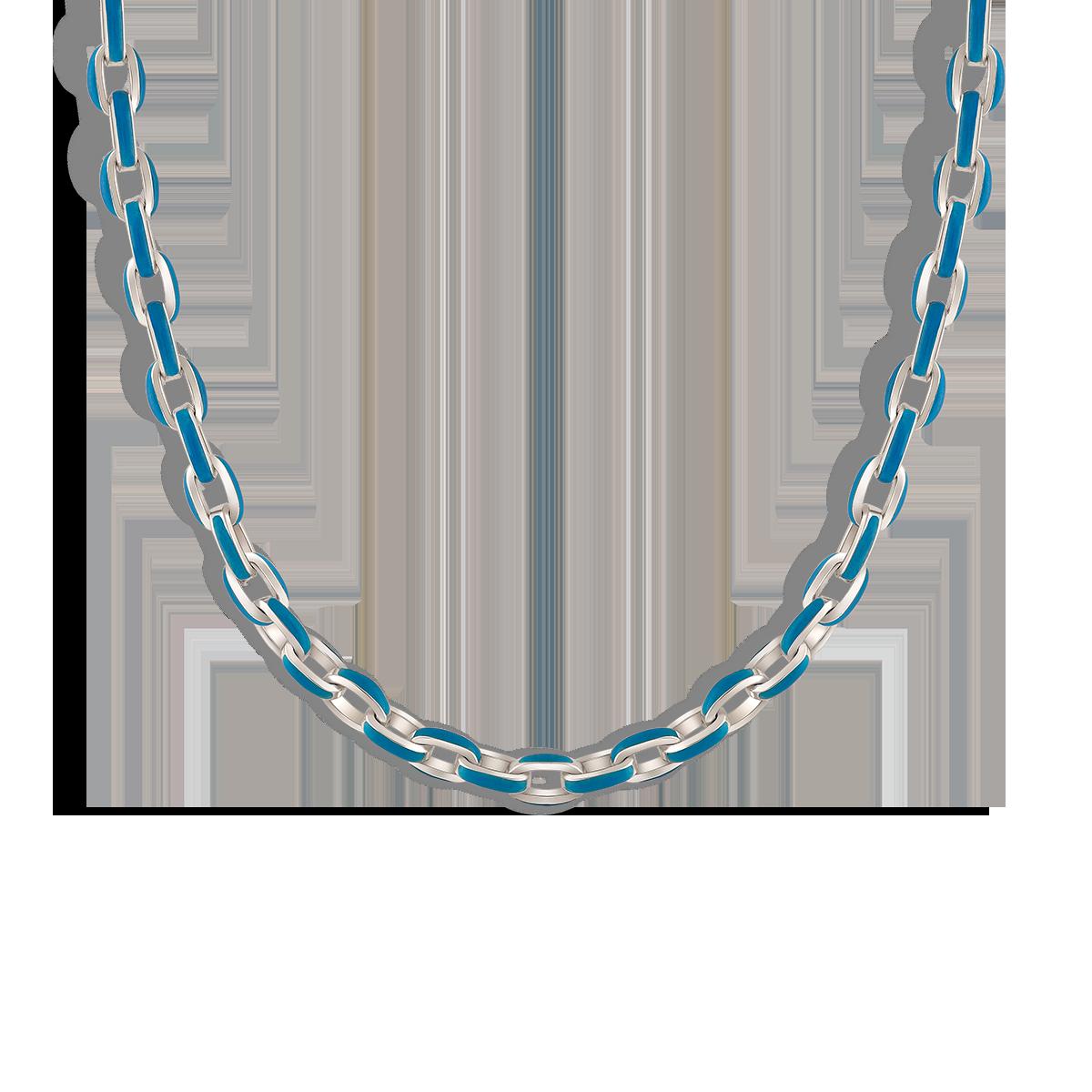 گردنبند نقره مینا کاری آبی Blue Enamel Belcher