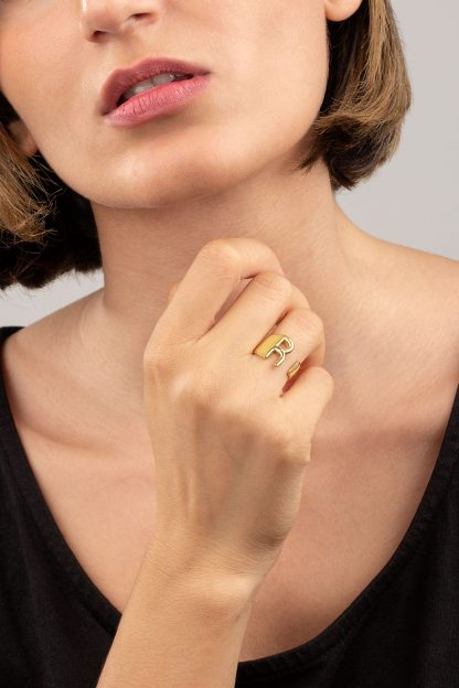 انگشتر طلا حرف R