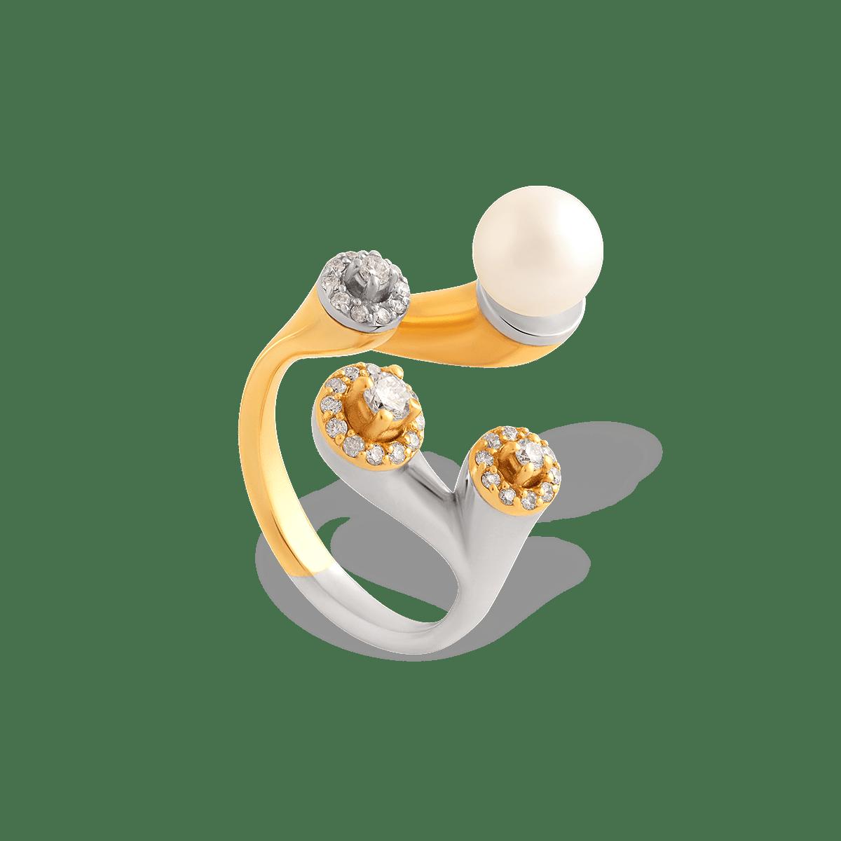 انگشتر طلا برلیان و مروارید