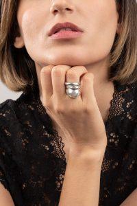 انگشتر نقره سه رینگ آشا Asha